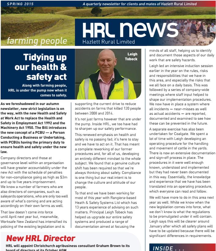 HRL Newsletter Spring 2015