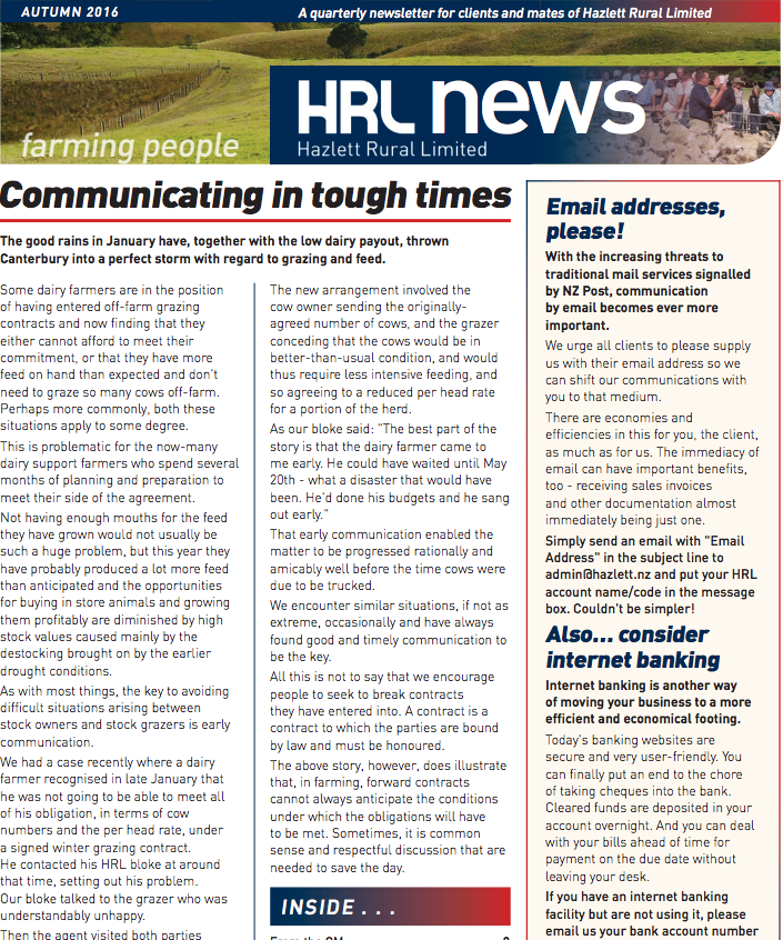 HRL Newsletter Autumn 2016