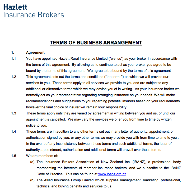 HIB Terms of Business