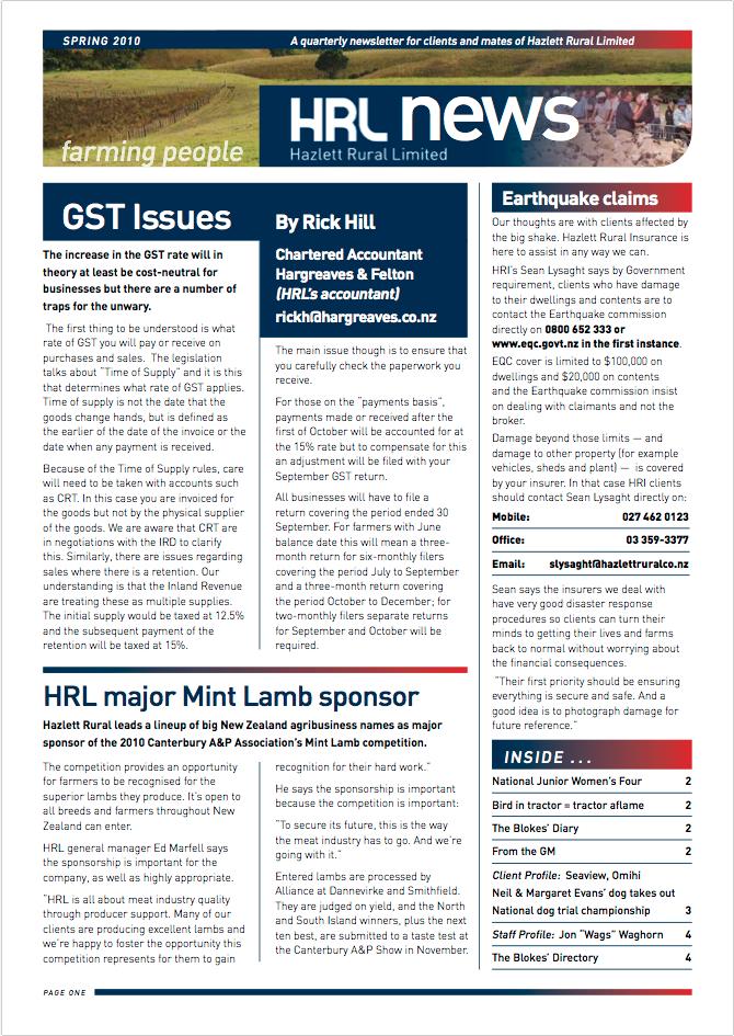 HRL Newsletter Spring 2010