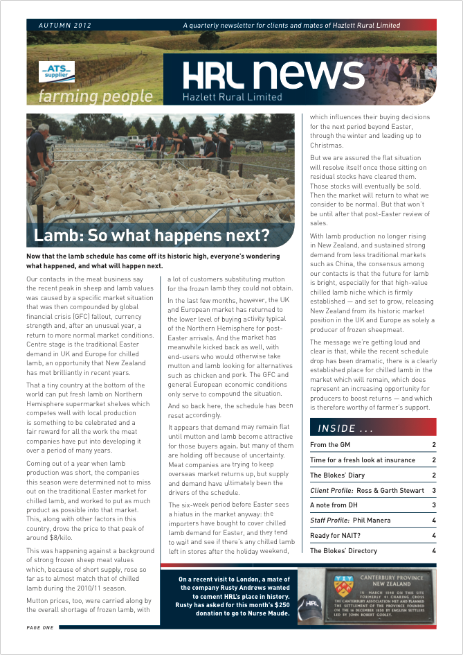 HRL Newsletter Autumn 2012