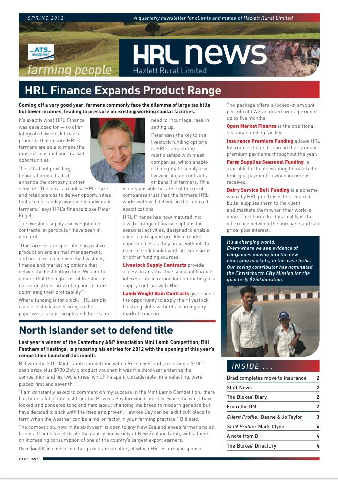 HRL Newsletter Spring 2012