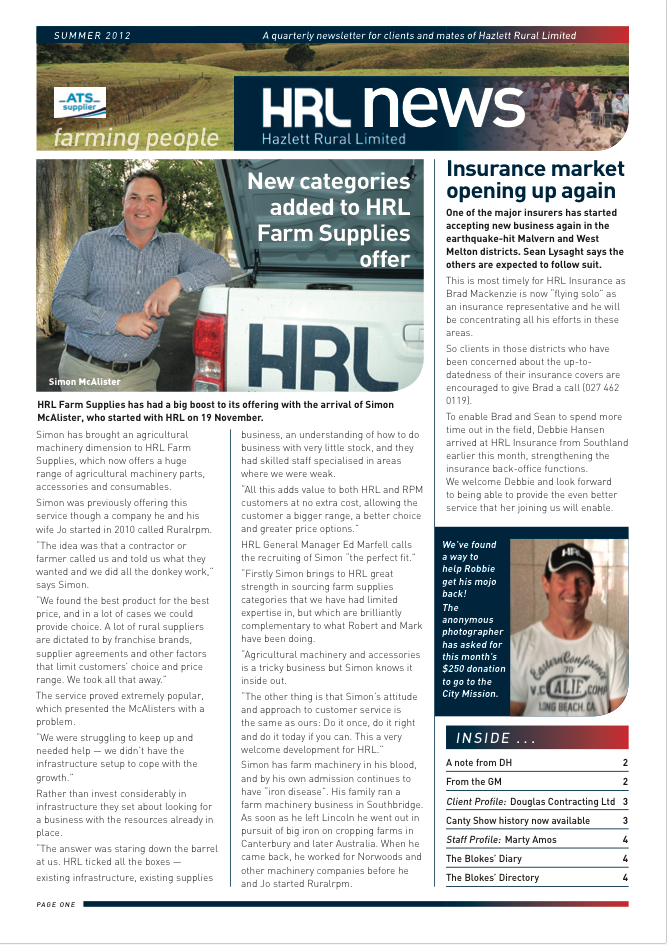HRL Newsletter Summer 2012