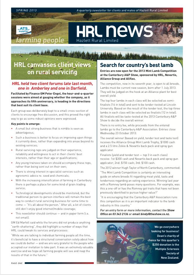HRL Newsletter Spring 2013